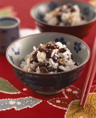 Rice salad with azuki