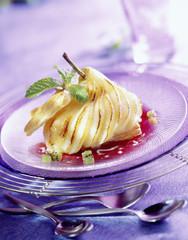 sliced roast pear