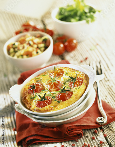 Crab meat and cherry tomato clafoutis