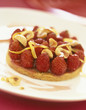 Strawberry,hazelnut and orange zest confit tart