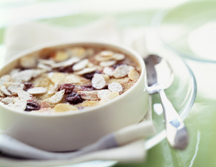 Almond and blackcurrant clafoutis batter pudding