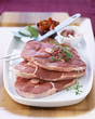 Raw slices of lamb