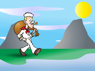 sailor going home illustration
