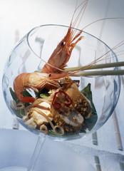 Chicken,shrimp and sugar pea salad