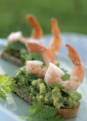 Shrimp and guacamole toasts