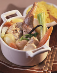 Rabbit Blanquette with vegetables and vanilla