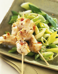 monkfish skewers with leeks