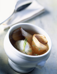 broth with soft-boiled egg and ham