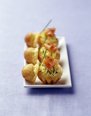 brioches stuffed with scrambled egg and salmon