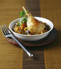 chicken leg and ratatouille