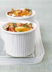 coddled egg with bacon