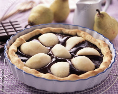 Duo pear chocolate tart