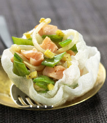 rice cracker with salmon