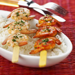 prawn and mediterranean prawn skewers