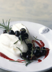 Goat cheese faisselle ice cream with blackcurrant coulis