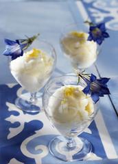Lemon sorbet with gentian flowers