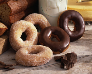 Sugar and chocolate donuts