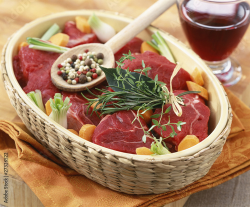 Raw beef for bourguignon