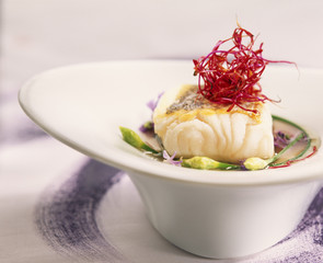 Cod with mauve soup and chinese garlic