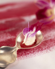 Fromage frais mousse with orchid