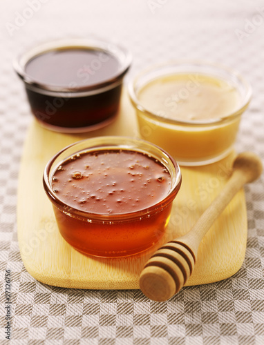 assorted mini jars of honey