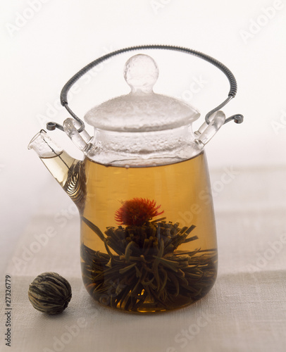 Green tea with thistle flower