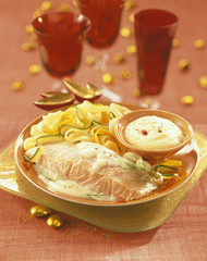 salmon steak in white butter sauce