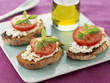 goat's cheese, tomato and basil crostini