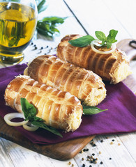 rolled puff pastry with cheese
