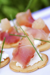 goat's cheese and raw ham canapés