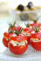 cherry tomatoes stuffed with vegetables