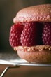 Crunchy macaroon with fresh rasberries