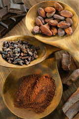 different formsof cocoa in wooden spoons