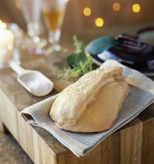 Towel-wrapped whole raw foie gras