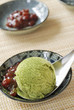Green tea ice cream and red kidney beans