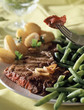 Beef steak and green beans