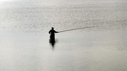 Fisherman with fishing line