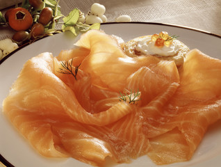 Plate of smoked salmon