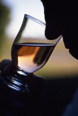 person inhaling wine