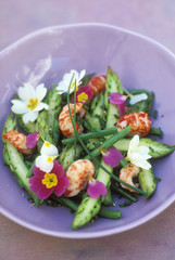 crawfish, asparagus and primrose salad