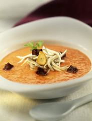 Salmorejo with small eels and fried blood sausage