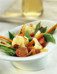 Mixed summer vegetables with ham
