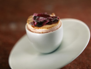 Rose soufflée with caramelized petals