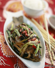 Chinese fish with fried vegetables
