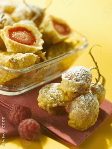small strawberry fritters