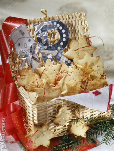 Three flavoured Christmas shortbread biscuits