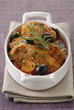 Sauteed lamb with olives and saffron