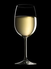 Glass of white wine on a black background