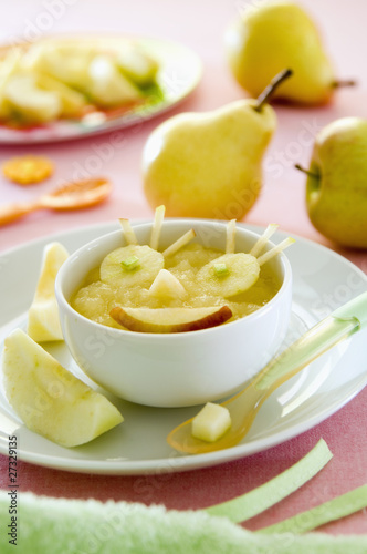 Funny bowl of stewed fruit