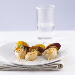 Scallop and Chorizo brochettes